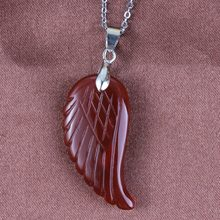 Kraft-beads Popular Silver Plated Flying Wing of Angel Pendant Fashion Red Agates Jewelry(China)