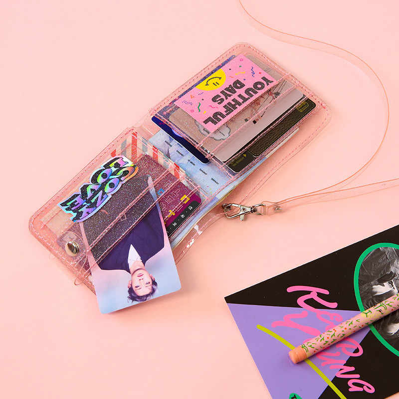 Bentoy pvc 透明ショートネック財布ため milkjoy レーザコイン財布女性クリアきらめく手紙カードホルダー