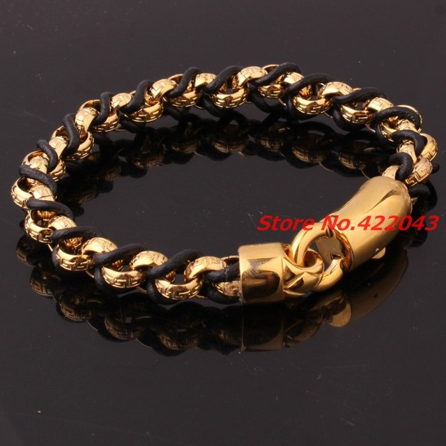 "9""*10mm Genuine Black Leather Bangle Men Women Punk Gold Plated Rolo Chain Stainless Steel Bracelets Handmade Wristband Pulseras"