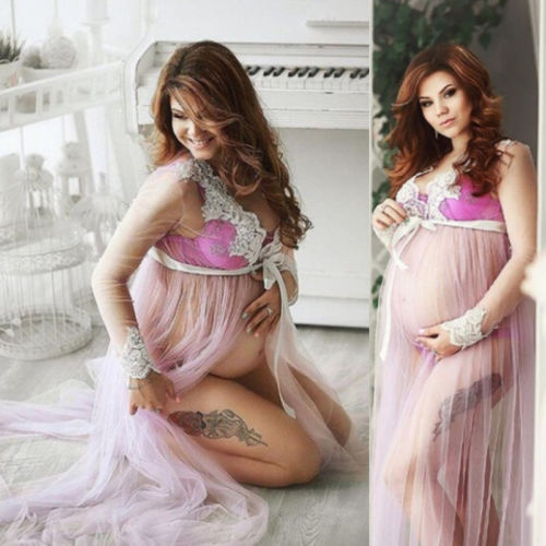 Pregnant Women Sheer Lace Long Sleeve Maxi Dress Maternity Gown for Photo Shoot