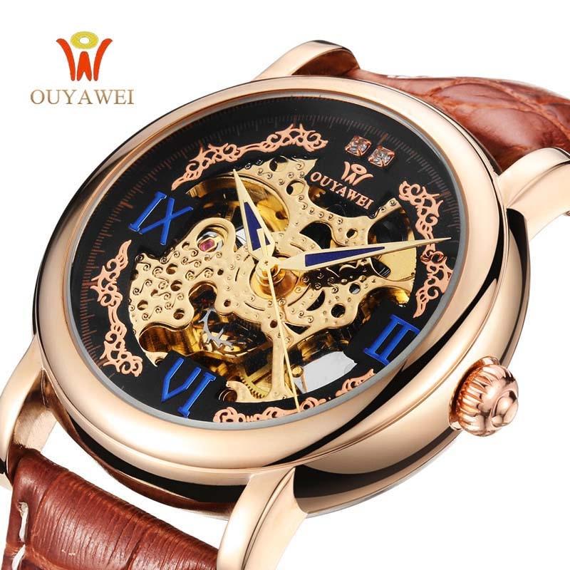 OUYAWEI Luxury Watch Men Silver Leather Mechanical Wristwatch Automatic Watch Men Skeleton Dress Watch Casual Men Business Watch