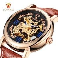 OUYAWEI Luxury Watch Men Silver Leather Mechanical Wristwatch Automatic Watch Men Skeleton Dress Watch Casual Men