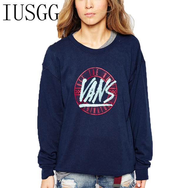 Women's Cotton Casual O-Neck Tracksuits Big Letters Print Navy Blue Crop  Hoodies Pullover Sweatshirts