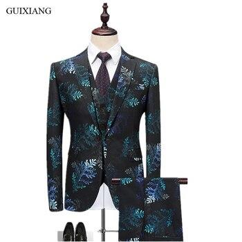 GUIXIANG Men Boutique Suit Dress High Quality Business Casual Plant pattern One Button Suit Three-piece Suit Blazers Plus size