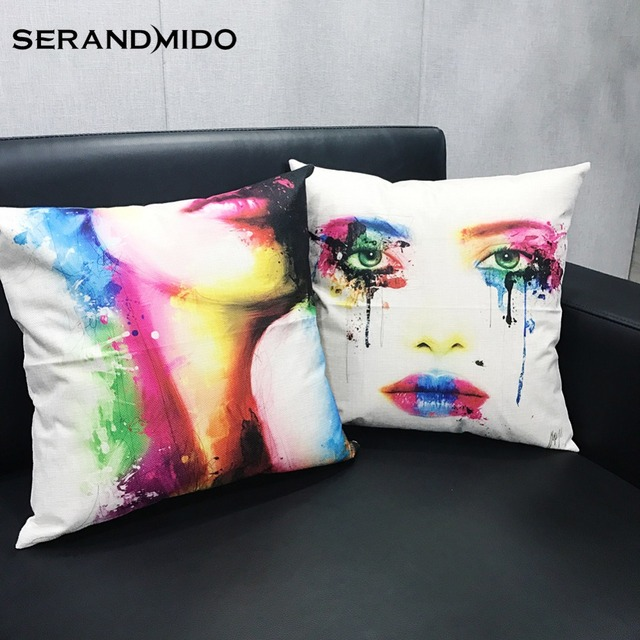 Fashion Y Women Color Printing Pillow Covers Linen Cool Modern Throw Home And Car