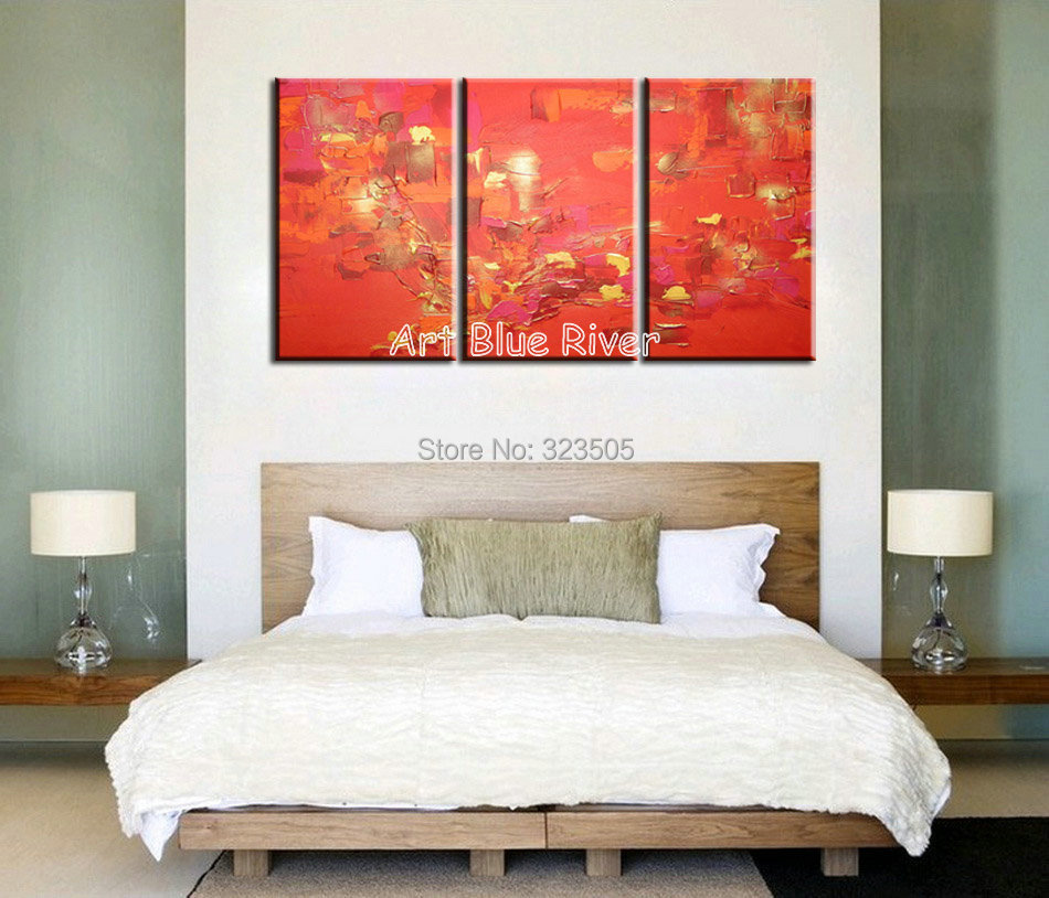 3 piece canvas art handmade wall modern abstract red decorative set font b Knife b font