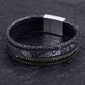 wholesale magnetic bracelet with rhinestone wrap leather B1582