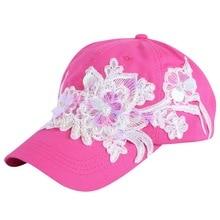 women brand baseball cap girl fashion hats white black floral lace style beauty snapback hat 58 CM adjustable woman popular hats