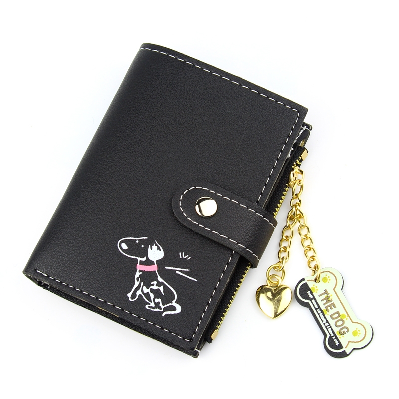 Women Wallets Brand Design Cartoon Dog Hasp Lady Purses Cards Holder Zipper Coin Purse Short Money Bags Girls Heart Wallet Pouch