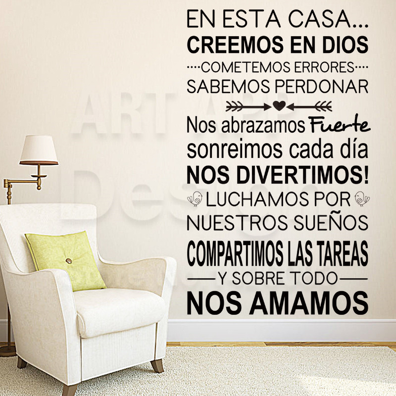 Art New Design Home Decor Vinyl Cheap Spanish Home Rules Words Wall Sticker Colorful House Decoration