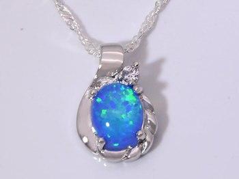 Wholesale & Retail Fashion Jewelry Fine Blue Fire Opal Stone Sterling Sliver Pendants For Women PJ16011703