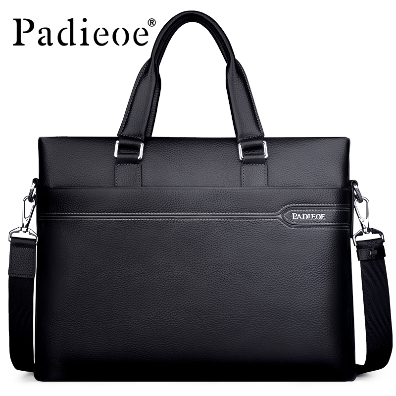 Padieoe Men's Genuine Leather Briefcase Famous Brand Business Cowhide Leather Men Messenger Bag Casual Handbags Shoulder Bags 16inch medium long wavy lace front synthetic hair green cosplay party wig