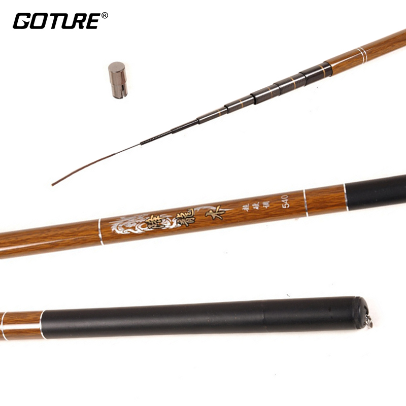 Goture Telescopic Carbon Fiber Fishing Rod 3.6-7.2M Super Hard Carp Fishing Pole Stream Fishing Rod