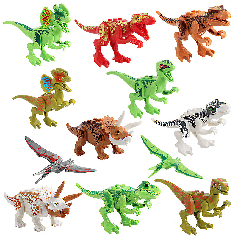 12 pcs/set  Dinosaur Toy Plastic Play Toys Small Tyrannosaurus Blocks  Model Action  Figures Xmas Best Gift 5-13 cm