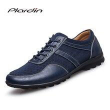 Plardin/2017 Four Seasons Мода Плюс Размеры человек Разделение удобные Повседневное сетки и кожа стиль шитья кожаная обувь для мужчин