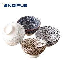 Японский стиль 4,5 дюймов керамический фарфор высокий рисовая чаша Ручная роспись креативный узор посуда суп Десерт маленькие чаши подарки