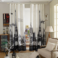 2016 New Velvet Hemp Curtains The Sitting Room Bedroom 3D Digital Printing Eiffel Tower Shade Curtain