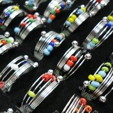 40 шт Модные цветные бусины железные весенние кольца для женщин