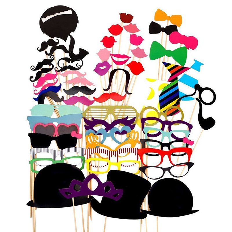 10-58pcs Fun Wedding Decoration Photo Booth Props DIY Mustache Lips Glasses Mask Photobooth Accessories Wedding Party Supplies
