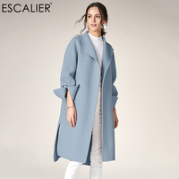 ESCALIER Women's Casual Wool Blend Coat 2018 Autumn/winter Turn down Collar Long style Cuffs pearl Outerwear Coats