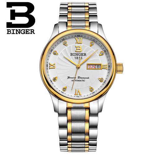 Binger Fashion Casual Mens Watches Top Brand Luxury High Quality Stainless Steel Waterproof Quartz Wrist Watches For Men