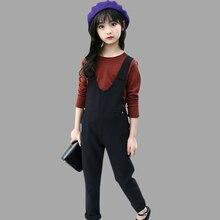 Vêtements enfants pour filles printemps vêtements pour enfants rayé chemise + combinaison 2 pièces automne adolescent enfants vêtements 8 10 12 ans