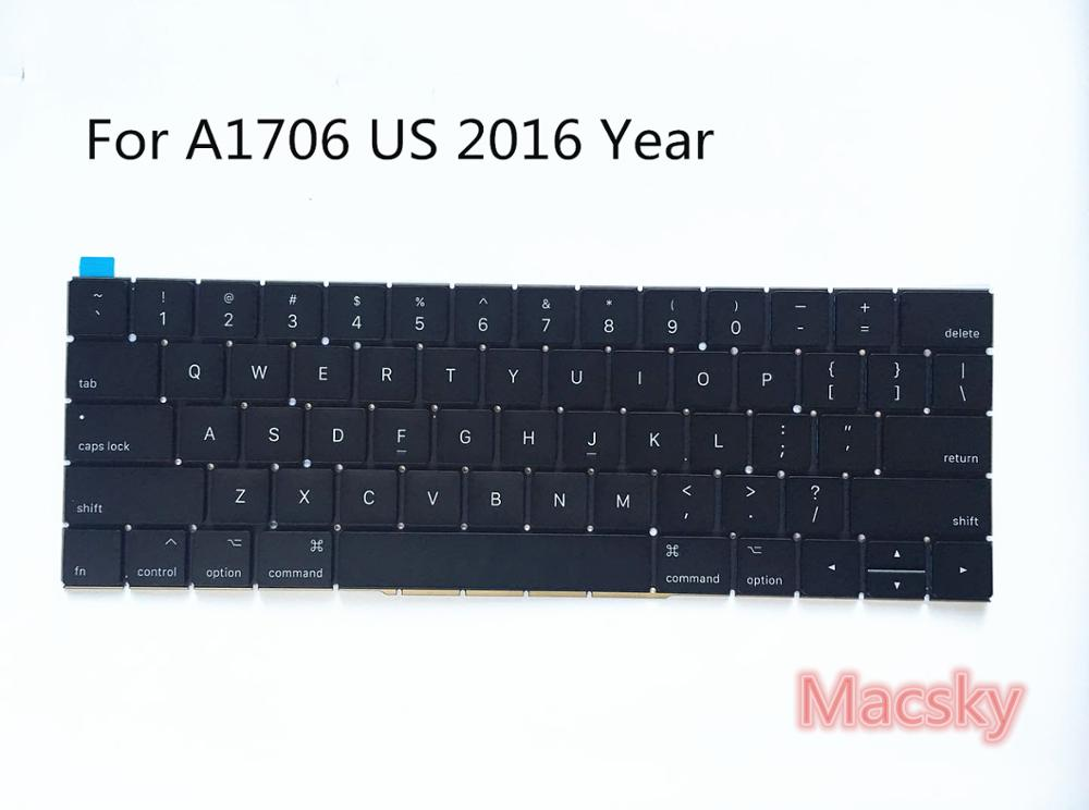 New Original Laptop US Standard Keyboard for MacBook 2016 2017 A1706 Pro Retina 13inch 13 A1706 Keyboard 2016 2017 Year hot new original keyboard for samsung q530 laptop keyboard us free shipping