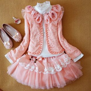 2017 New Arrival Sale Coat Brand Female Child Set Children's Clothing Girl's Dress T-shirt Puff Skirt Three Piece Free Shipping