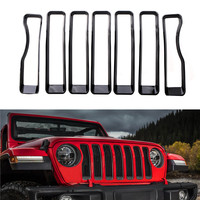 7PCS Front Mesh Grille Grill Inserts Covers Grill Trim For Jeep wrangler JL 2018 Without Decorative Original Rings