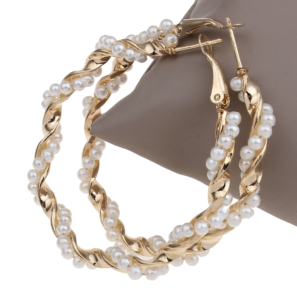 Korean Style Fashion Punk Jewelry Punk Loop Hoop Earring Imitation Pearl  Triangle Geometric Women's Daygifts Gold