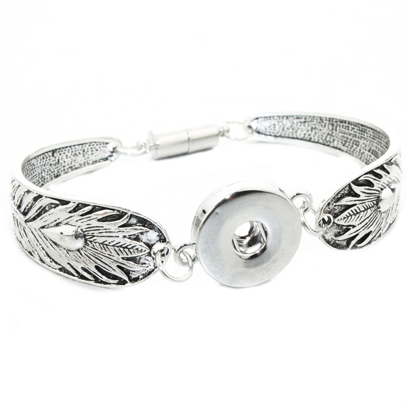 Bo Bo world 2018 Bohemian 18mm Metal Snap Button Bangle Bracelet For Women or Men's Vintage Feather Jewelry (fit18mm,20mm snap)