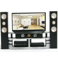 Free Shipping 1 6 TV Home Theater For Barbie Monster High Dolls Dollhouse Furniture Fashionable Black
