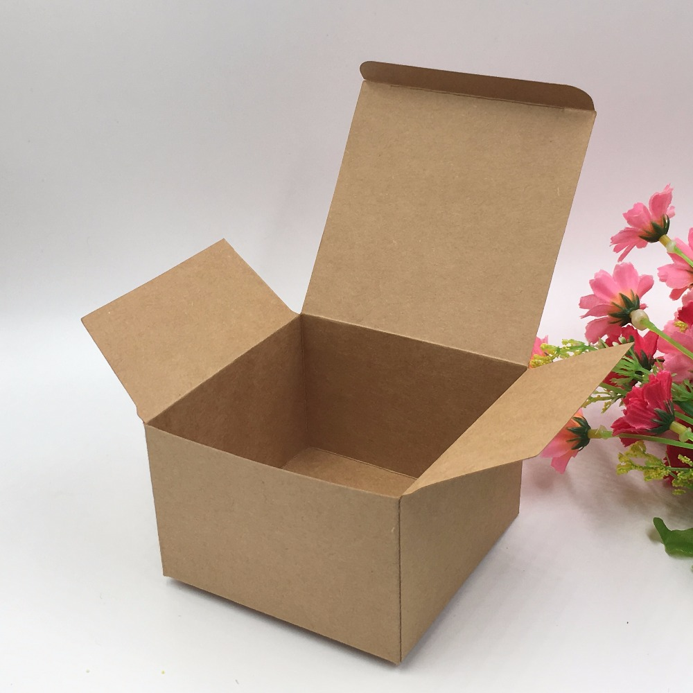 30pcs 9*9*6cm Brown Gift Box Kraft Paper Candy Boxes For Candy\Cake\Jewelry\Gift\chocolate\Party Packing Boxes