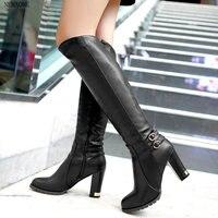 2014 Winter New Lambs Wool Inside Knight Boots Women High Heeled Knee Boots Knee High Boots