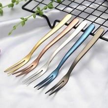 Abay 5pcs Colorful stainless steel Fruit Fork kitchen Set Cutlery Cake Dessert For Snack Tableware Tea dinnerware set