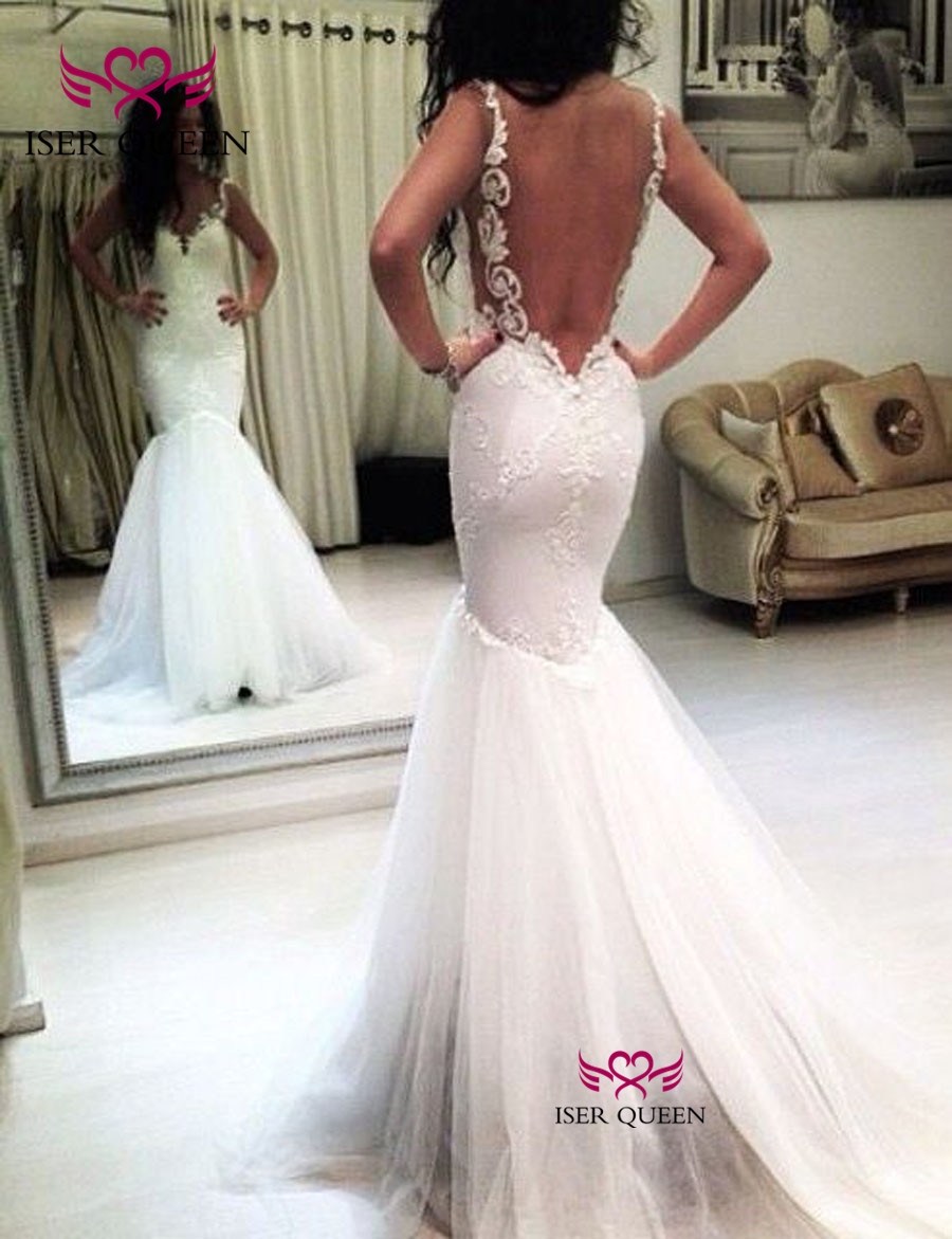 Us 79 06 33 Off Backless Sexy Mermaid Wedding Dress Pure White Lace Appliques Wedding Dresses 2019 Plus Size Vintage Wedding Dresses Arab W0491 In