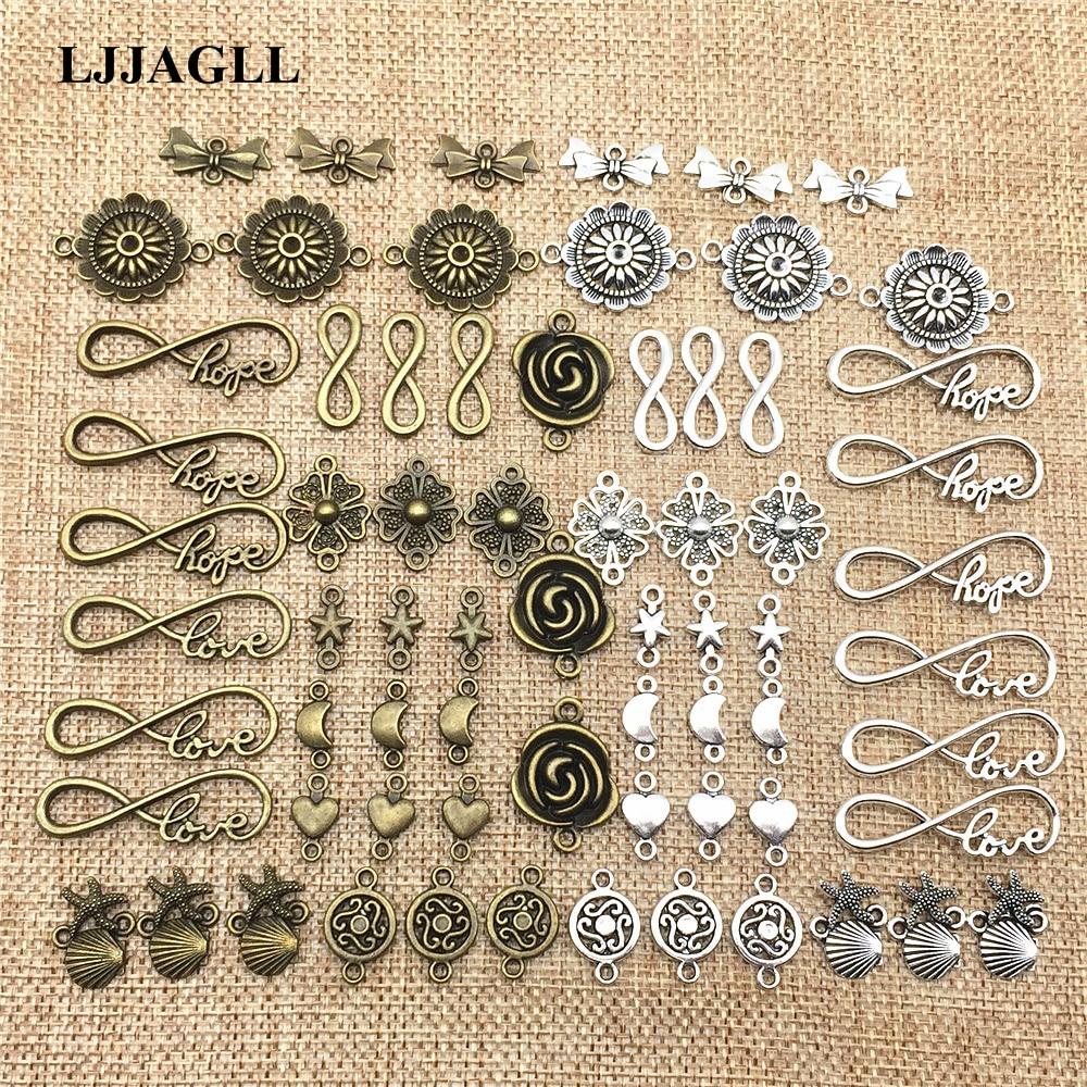 LJJAGLL Metal Alloy 10/20Pcs/lot Vintage Mix Jewelry Connectors For Diy Handmade Jewelry Bracelet Charms Making ALJQ018