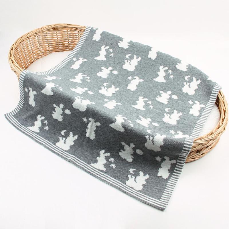 Couverture bébé lapin tricoté Swaddle doux nouveau-né Wrap lit poussette couette