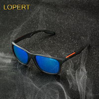 LOPERT Fashion Polarized Sunglasses Men Women Square Glasses Brand Classic Coating Points Black Frame Sun Glasses