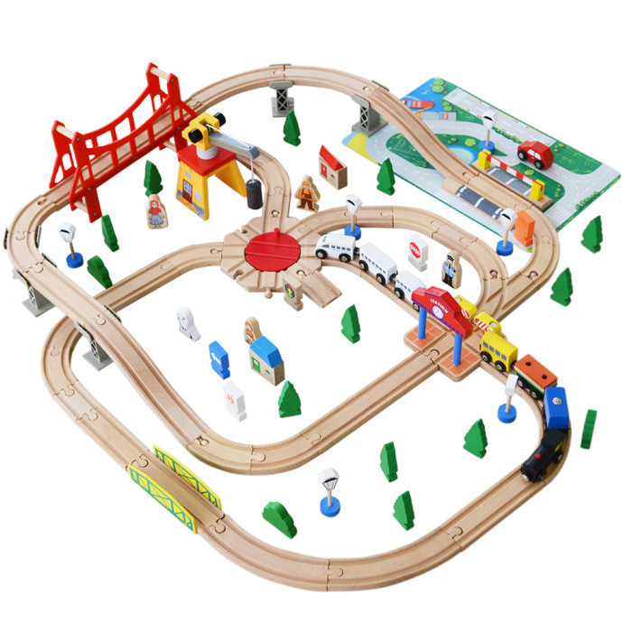 100PCS/lot Wooden train Switch Track set with Circular Turntable Educational Toys Kids Toy Compatible with Tom oyuncak siku