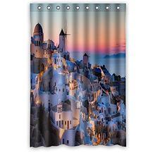 Customized Unique Greece Design Waterproof Polyester Fabric Bathroom Custom Shower Curtain 48 Inch X 72