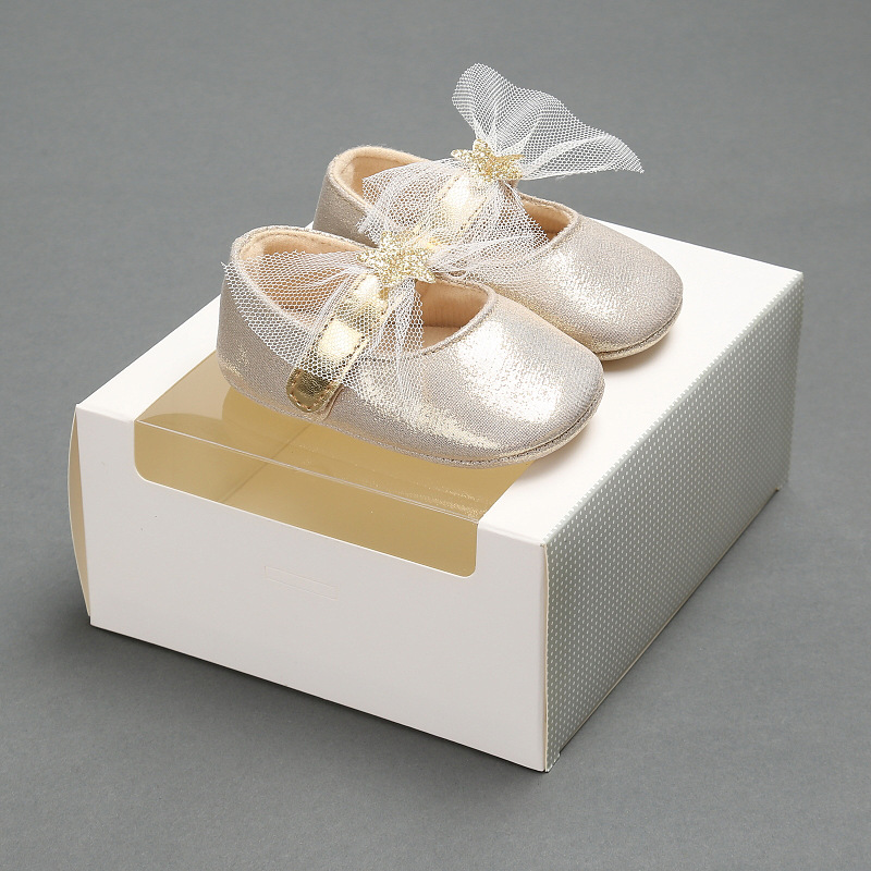 Simple Designed Pure Color Mesh Bowknot Glitter Baby Leather Baptism Christening Crib Shoes Soft Sole Little Princess Prewalker