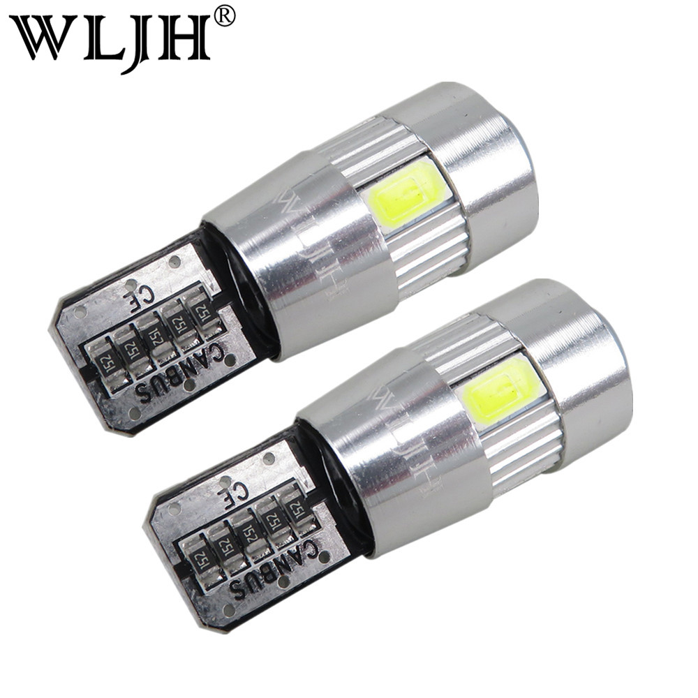 WLJH 2pcs High Power T10 LED Error Free for SAMSUNG Chip 5630 LED Bulb Canbus for AUDI A2 A3 A4 A6 A8 8L 8P B5 B6 B7 8H 4B 4F D2