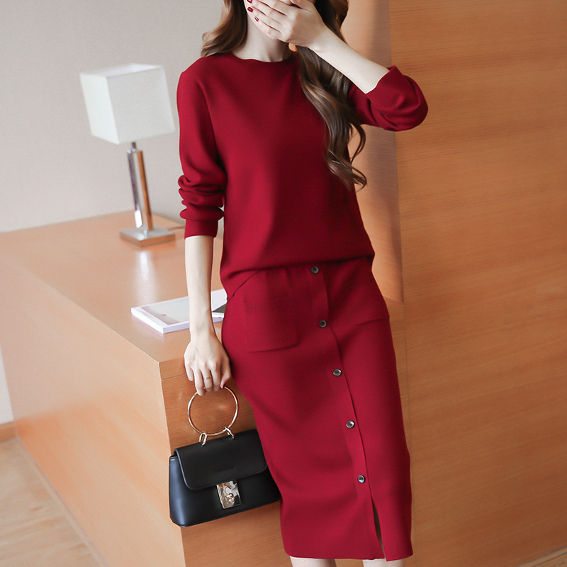 Knitted Suit Dress Fashion Slim Package Hip Women Skirt -8885