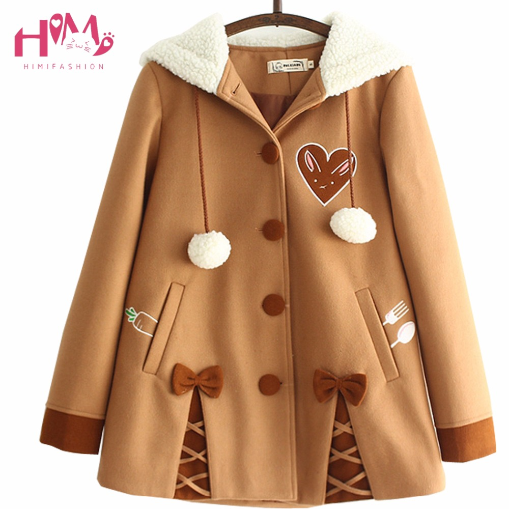 Japanese Soft Sister Cute Radish Embroidered Women Woolen Hooded Coat 2017 Winter Casual Bow Sweet Cute Loose Brown Jackets overcoat