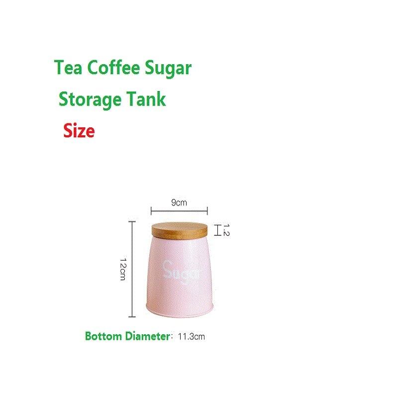 3 pièces/ensemble réservoir de stockage qualité belle acier ménagère ustensiles de cuisine multifonction thé café sucre boîte carrée caisse rose - 4