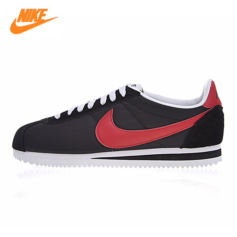 NIKE CLASSIC CORTEZ NYLON Men and Women Running Shoes,Original Sports Outdoor Sneakers Shoes,Black & Red, Lightweight 488291 001 original nike wmns classic cortez nylon women s skateboarding shoes sneakers
