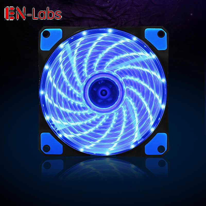 En-Labs 120mm Fall Fan 16dB Stille 15 LEDs Kühlkörper Kühler w/Anti-Vibrations-Gummi, 12 cm Fan, 12VDC 3 p IDE 4pin