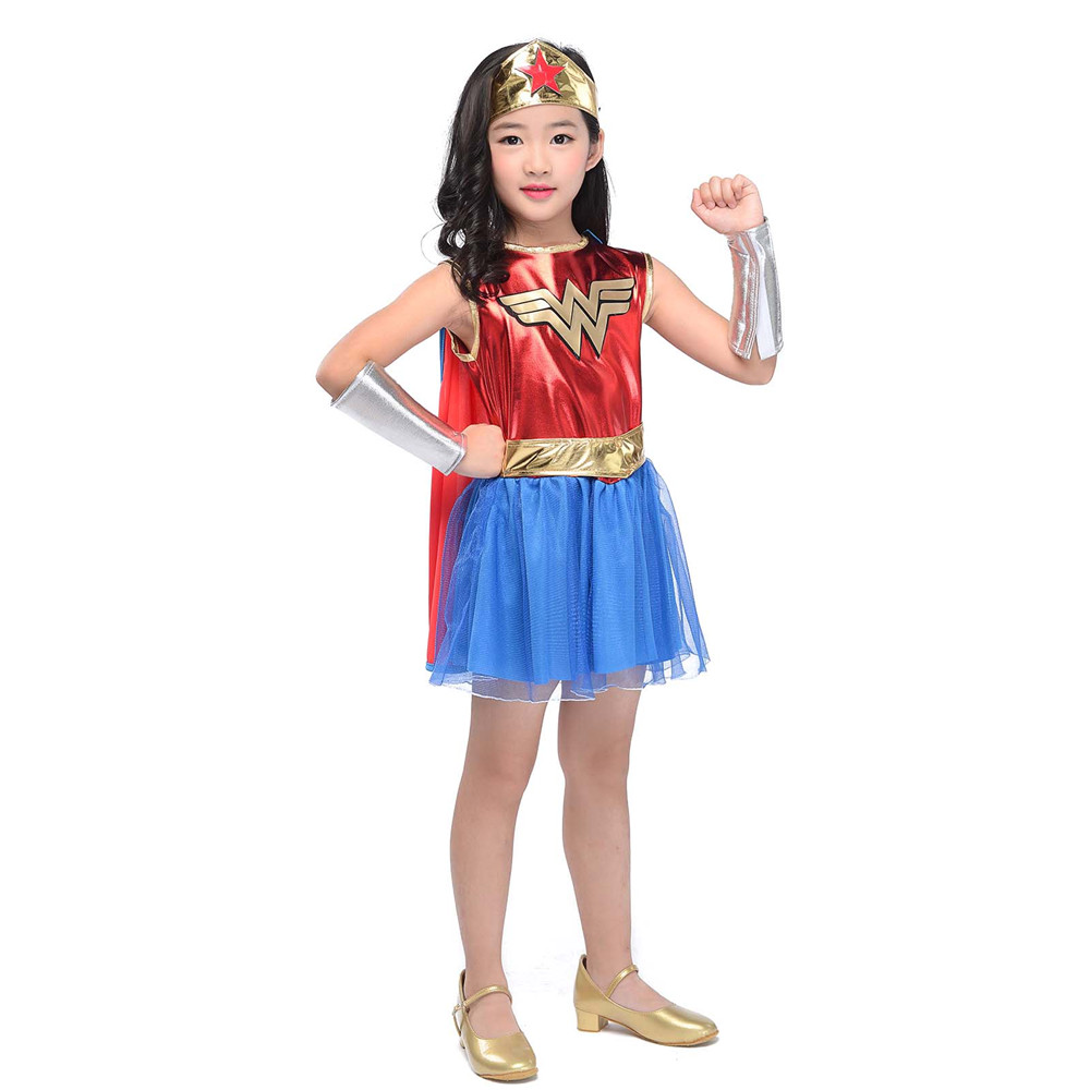 Deluxe Wonder Woman Costume for Kids Girls Classic Premium Supergirl Costume DC Comic Superhero Fancy Dress With Boot Covers