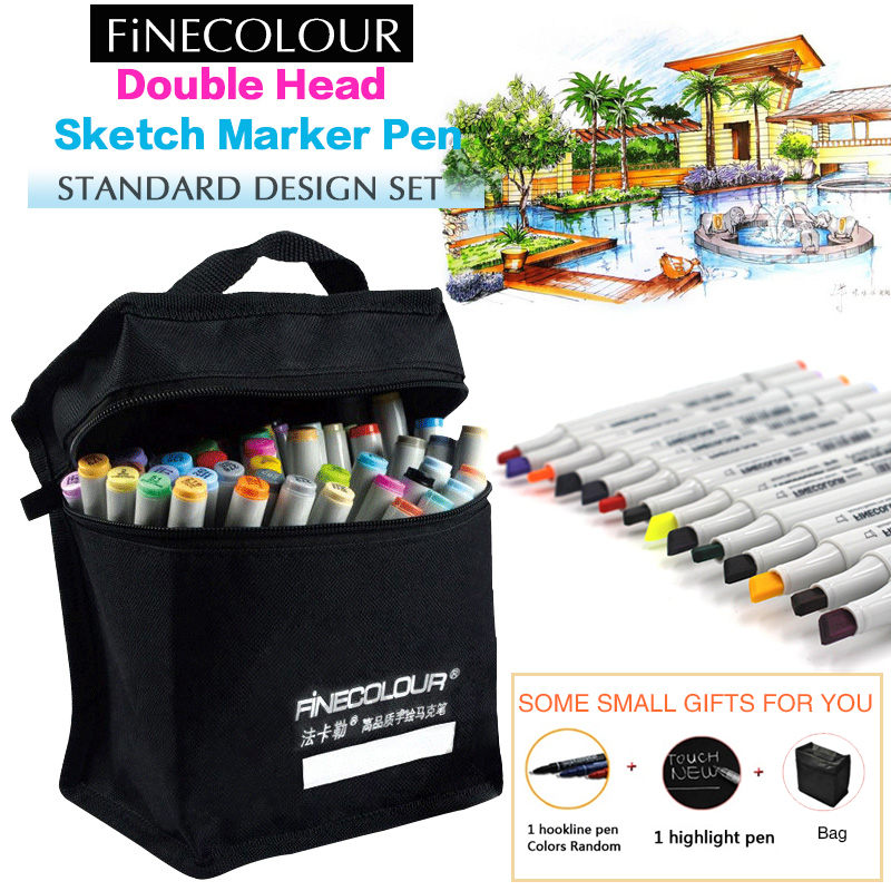 FINECOLOUR 36 48 60 72 Alcohol Based Marker Double Head Brush Art Sketch Marker Student Painting Sketch Drawing Marker Pen